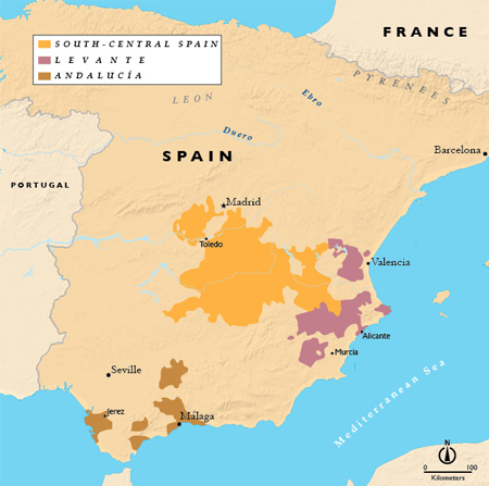 Map South Of Spain.Wines Of Southern Spain Levante Andalucia South Central Spain