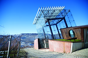 "Ceretto's ultramodern winery includes this glass-enclosed ""tower"" that offers panoramic views of the Langhe hills and mountains."