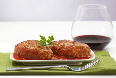 Extra Large Meatballs Baked in Tomato Sauce