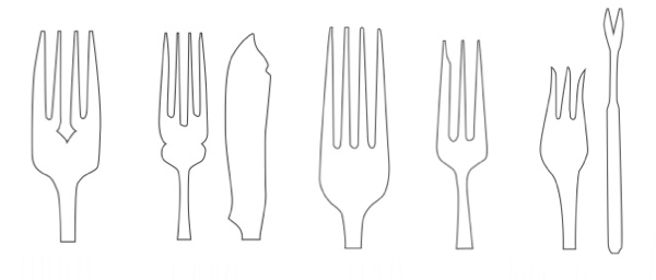 From left to right: salad, fish, dinner, dessert and oyster forks.