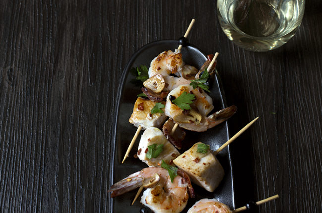 Brocheta de Rape y Gambas (Monkfish and Shrimp Skewers with Bacon)