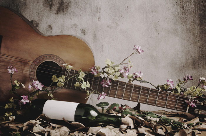Guitar and wine