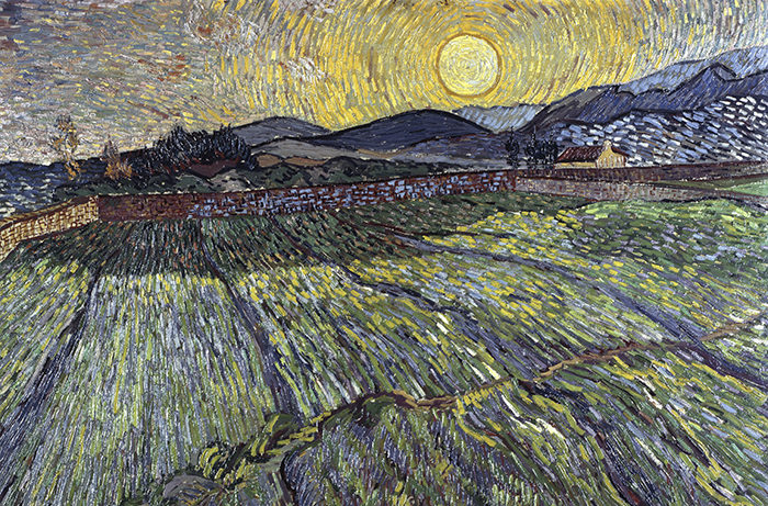 Enclosed field with rising sun, 1889 (oil on canvas) by Gogh, Vincent van (1853-90); Private Collection; Dutch, out of copyright