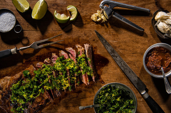 Flank steak with ingredients