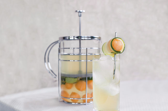 Otho's Brunchapuncha cocktail with French press