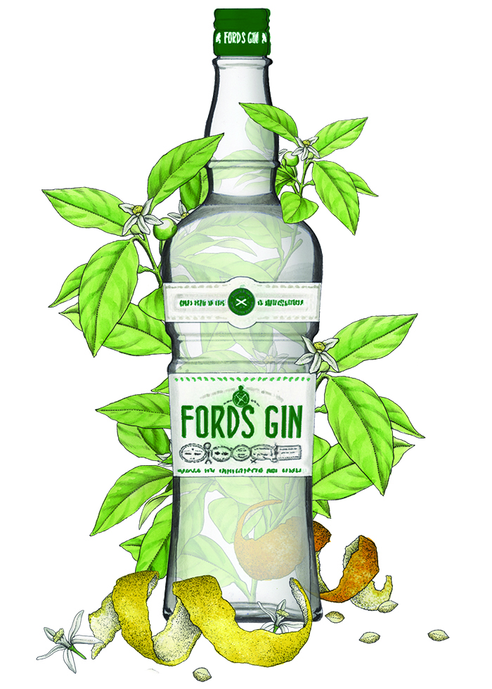Ford's gin bottle illustration