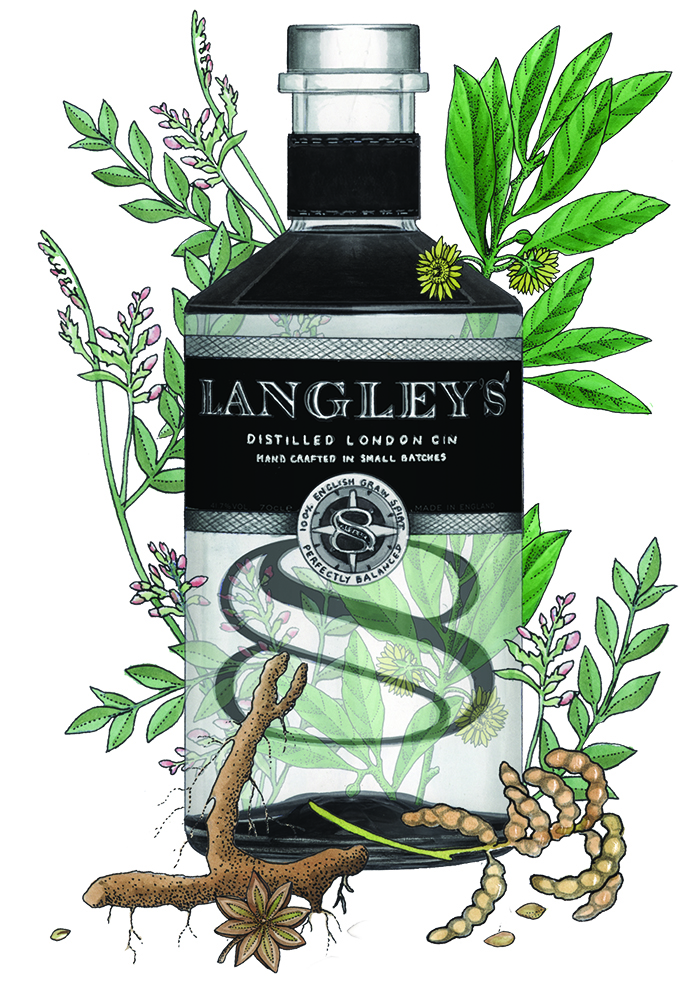 Langley's London gin bottle illustration
