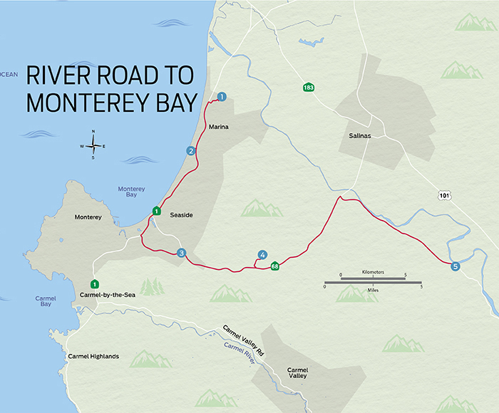 River Road to Monterey Bay Map