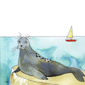 An illustration of a seal in Monterey Bay.