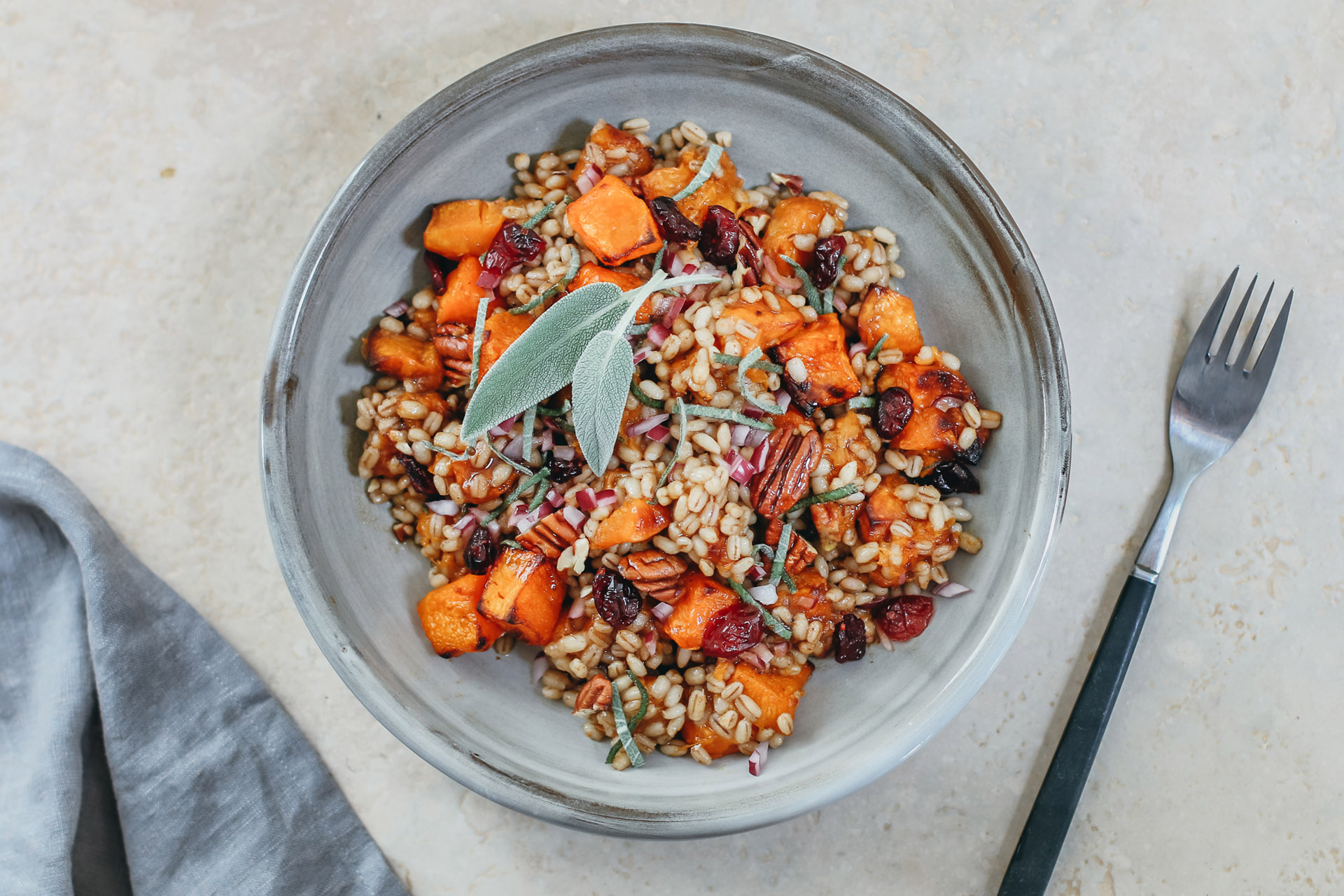Barley and butternut squash salad