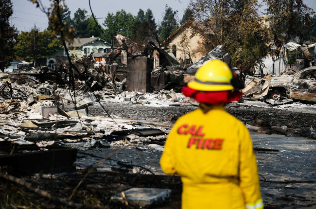 A Cal Fire employee surveys damage in the Coffey Park neighborhood caused by the Tubbs Fire on October 13, 2017 in Santa Rosa, California. (Photo by Elijah Nouvelage/Getty Images)