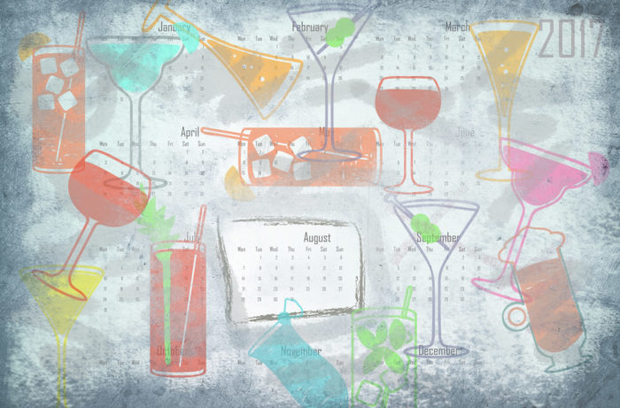 Illustration of cocktails, alcoholic beverages and calendars