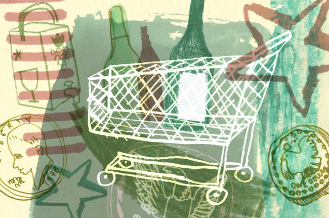Illustration of wine bottles and shopping cart