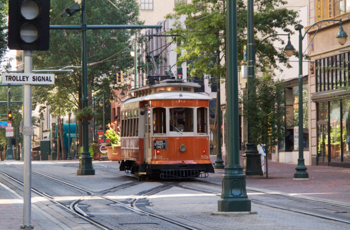 Trolley car on Main Street. Memphis, Tennessee.