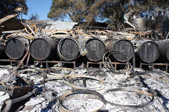 Some of the damage to Sill Family Vineyards after the Northern California wildfires.