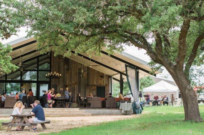 Crawfish boil with live Zydeco music and newly released rosé at Lewis Wines, Johnson City, Texas