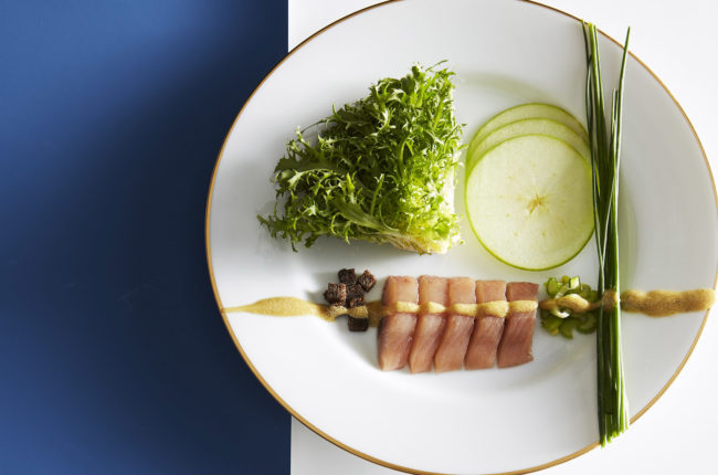 Matjes, green apple and celery salad with pumpernickel.