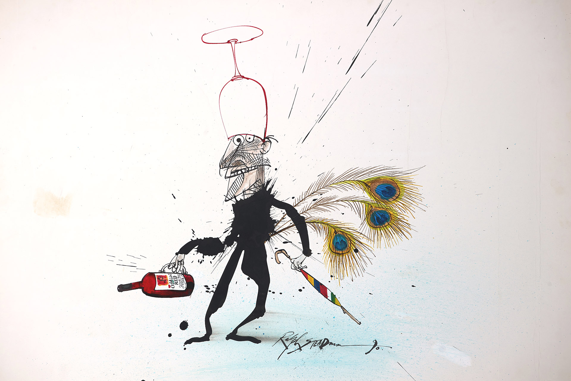 Illustration of man holding wine bottle with glass on his head, by Ralph Steadman
