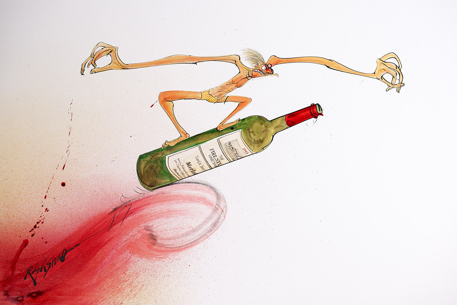 Illustration of man surfing on wine bottle by Ralph Steadman
