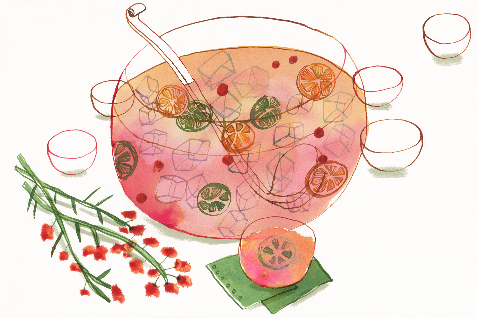 Illustration of a punch bowl filled with delicious boozy things
