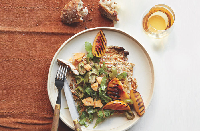 Grilled Chicken Paillard With Peach Olive And Aged Gouda Salad Wine Enthusiast
