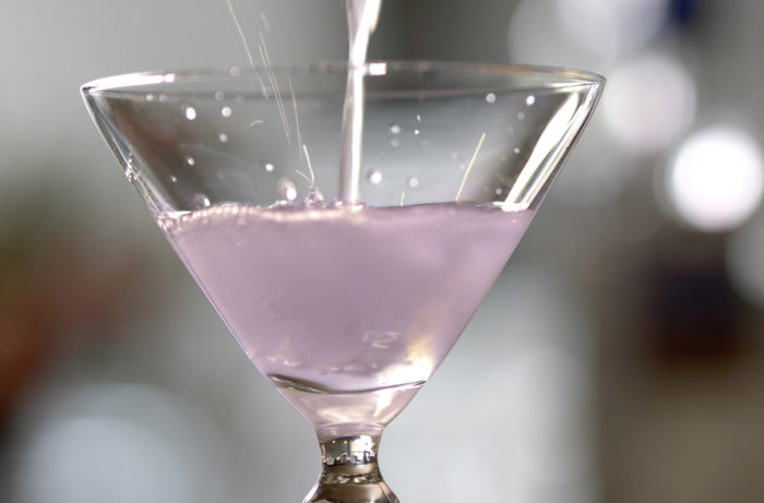 Aviation cocktail made with gin, crème de violette, lemon and maraschino liqueur