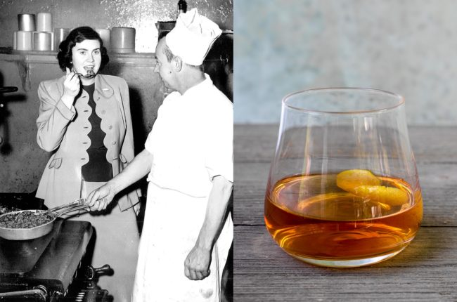 Ella Brennan tasting in kitchen next to Old Fashioned