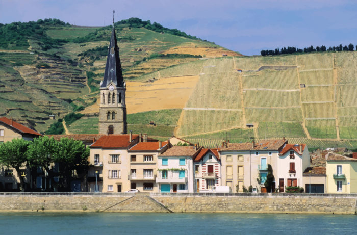 Town on the banks of the Rhone river