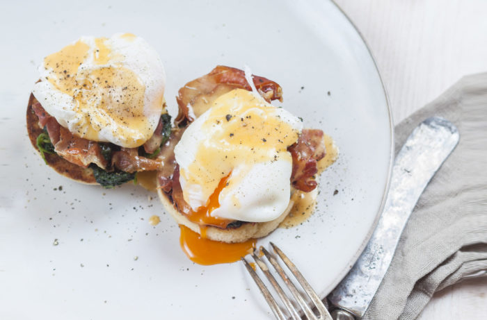 Poached eggs on English muffin