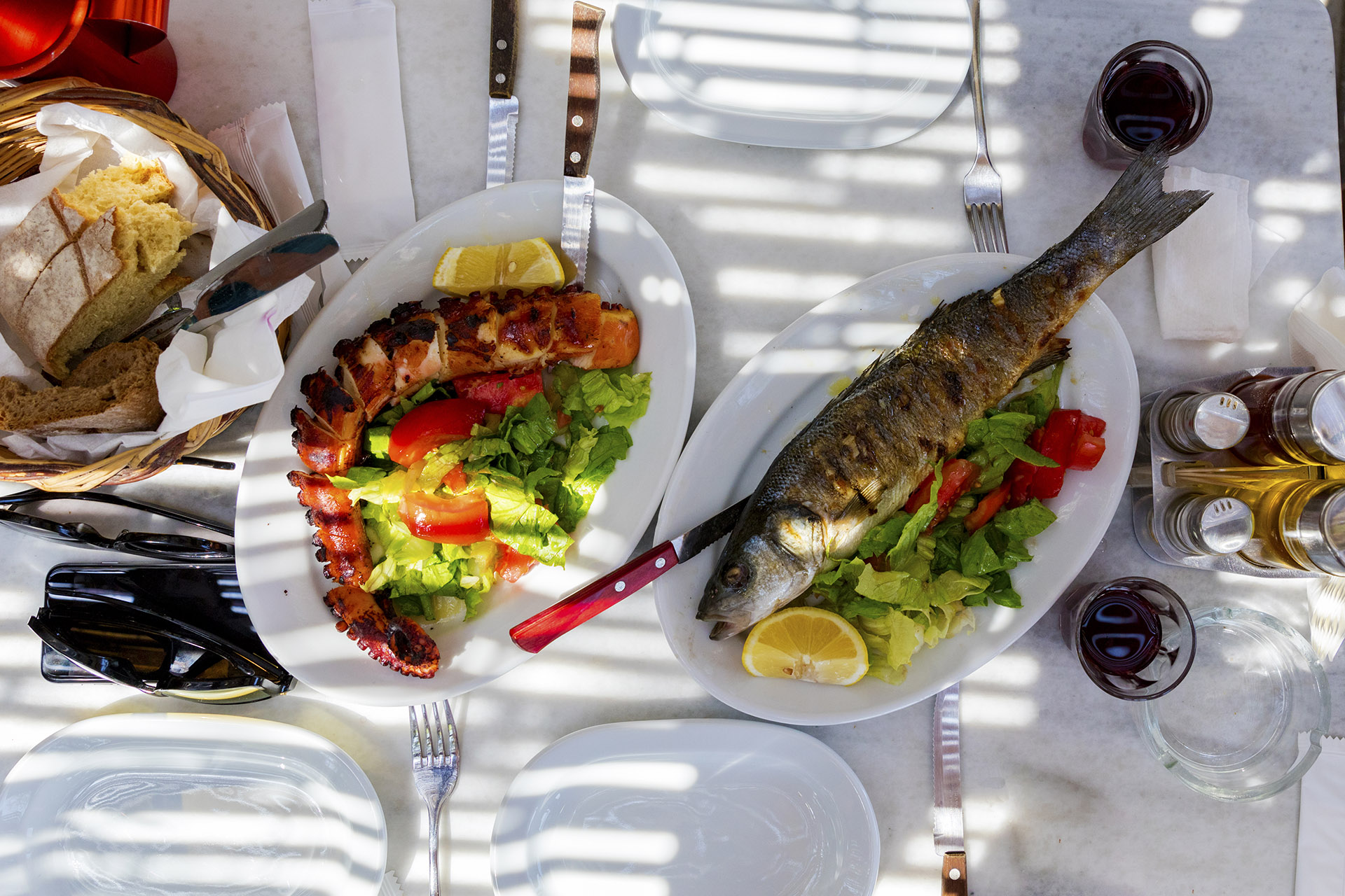 Traditional Greek grilled seafood