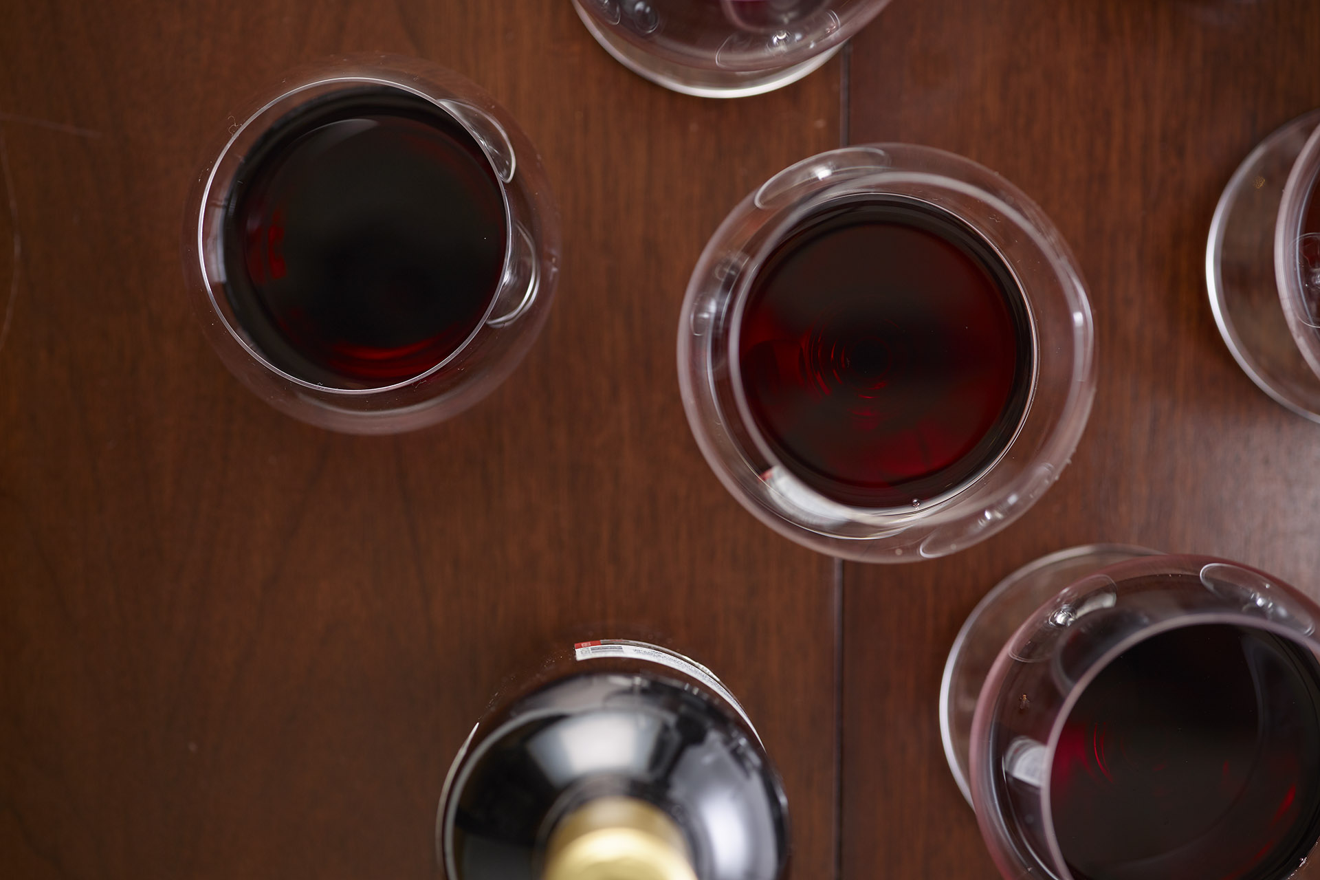 Different red wine in various glasses