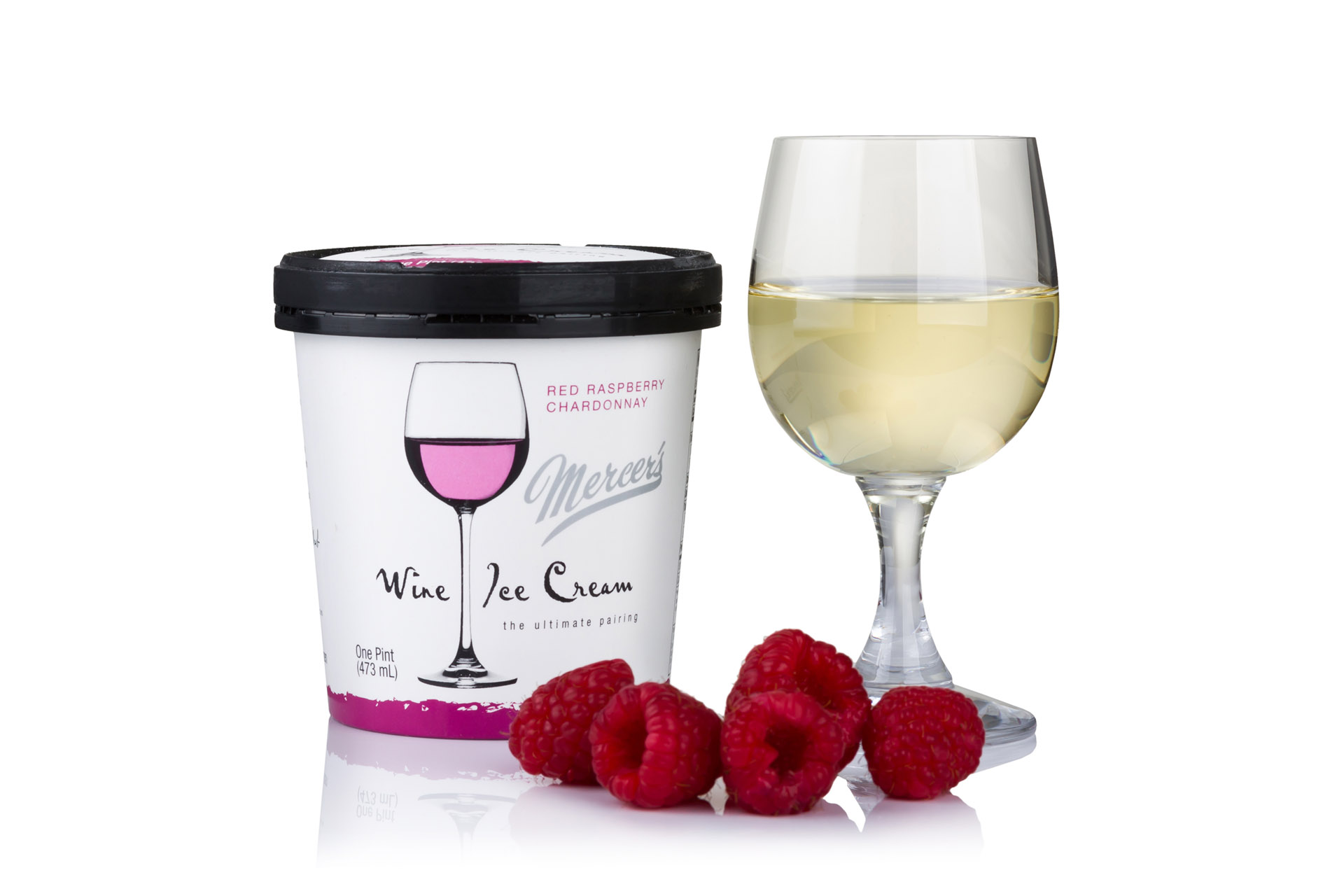 Mercer's Red Raspberry Chardonnay Wine Ice Cream / Photo courtesy Mercer's Dairy