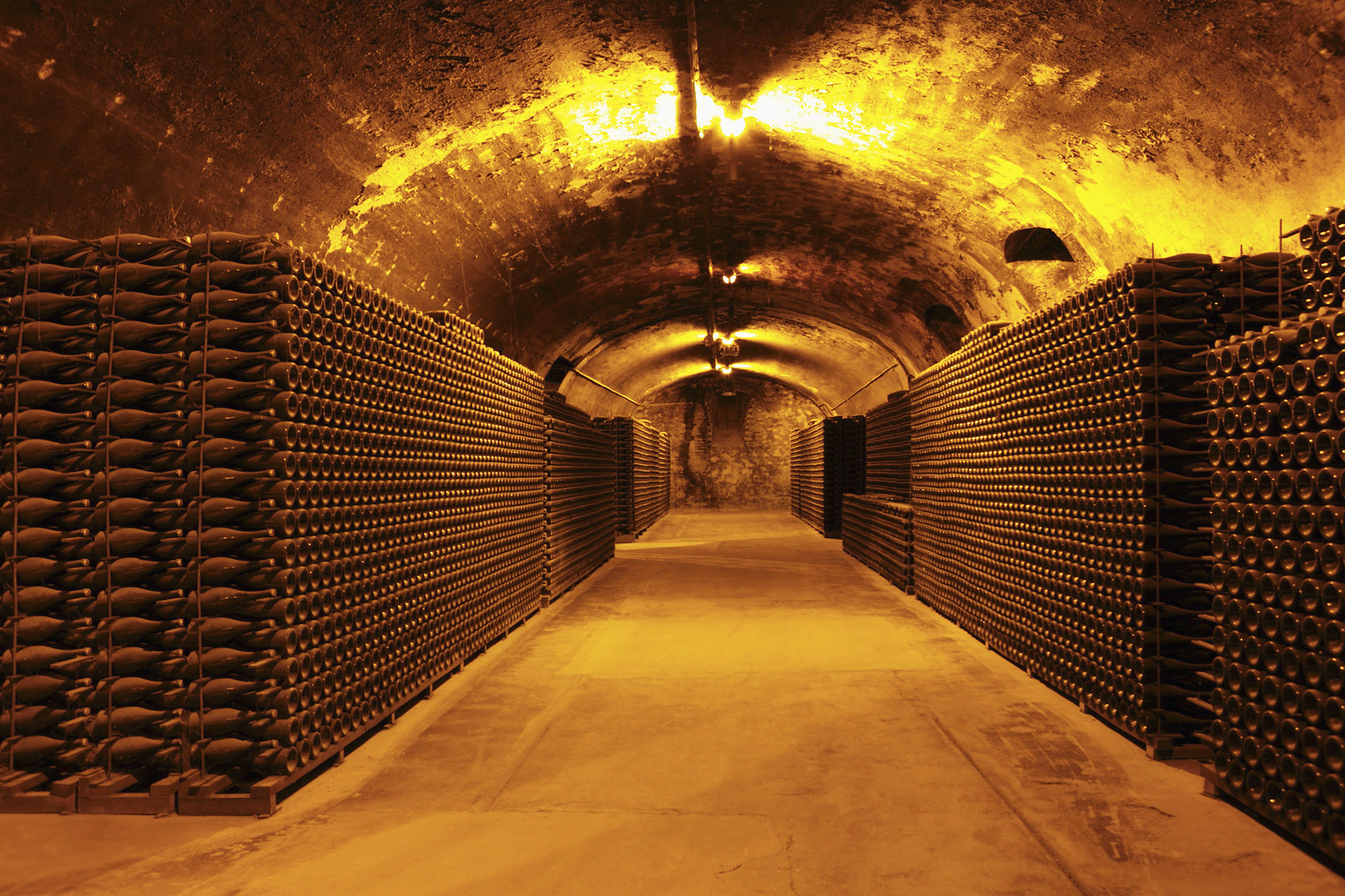 Gigantic cellar filled with wine bottles aging
