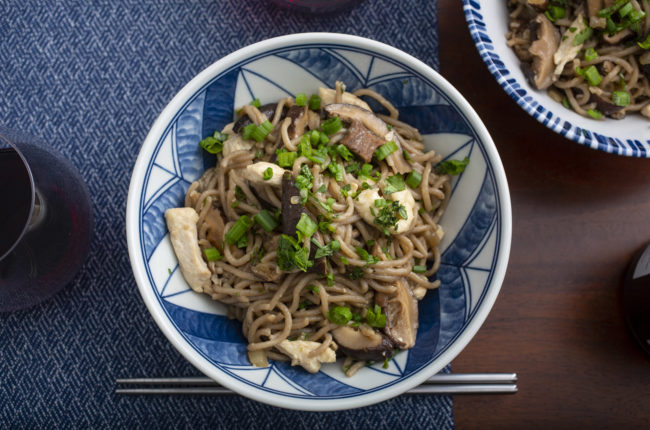 Blue and white designed bowl filled with noodles and garnished with scallions