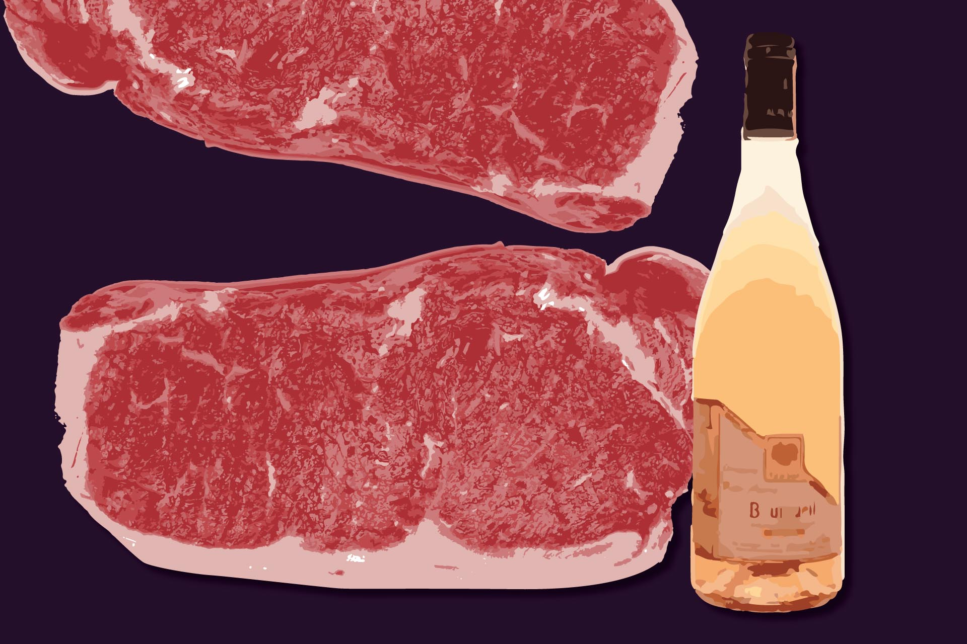New York strip steak and Domaine de la Petite Mairie Bourgueil Rosé / Illustration by Julia Lea