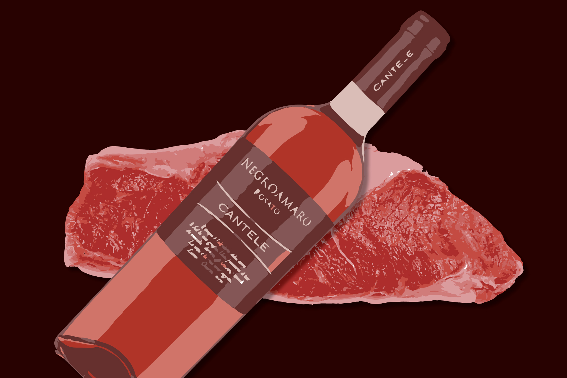 Top sirloin with Cantele's Negroamaro Rosato / Illustration by Julia Lea