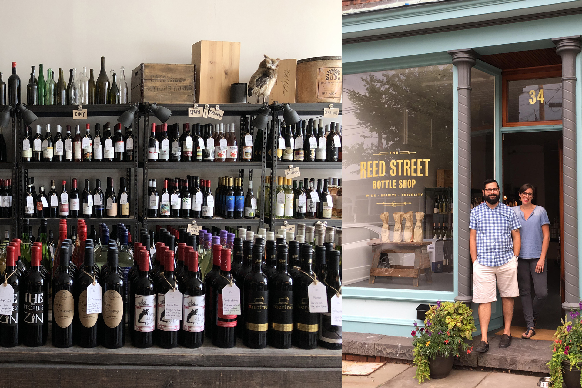 Left: State of the art shelving system at Reed Street Bottle Shop, Coxsackie; Right: Reed Street owners Shai Kessler and Susan Baldaserini