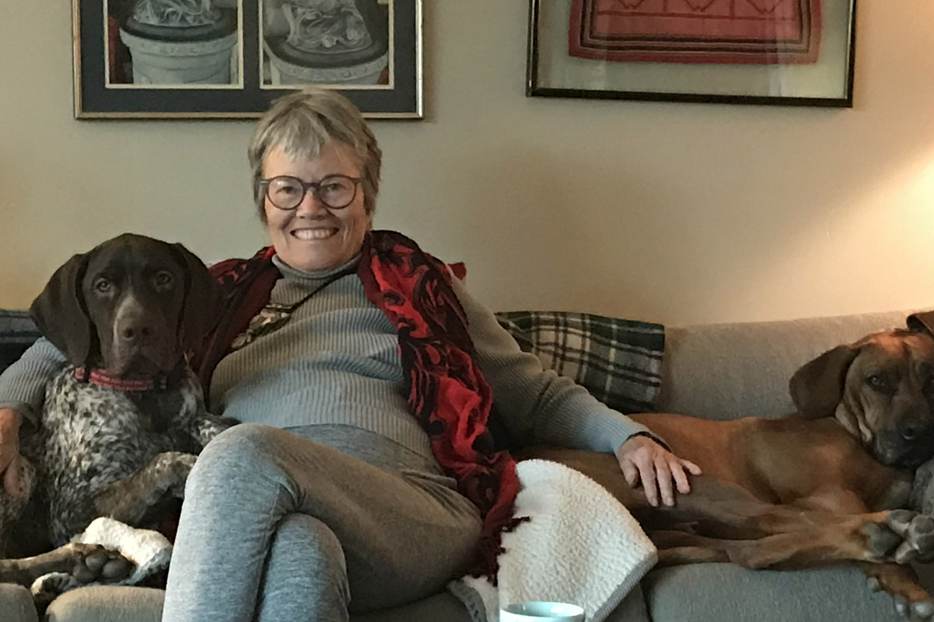 Older woman sitting on a modern couch with two dogs