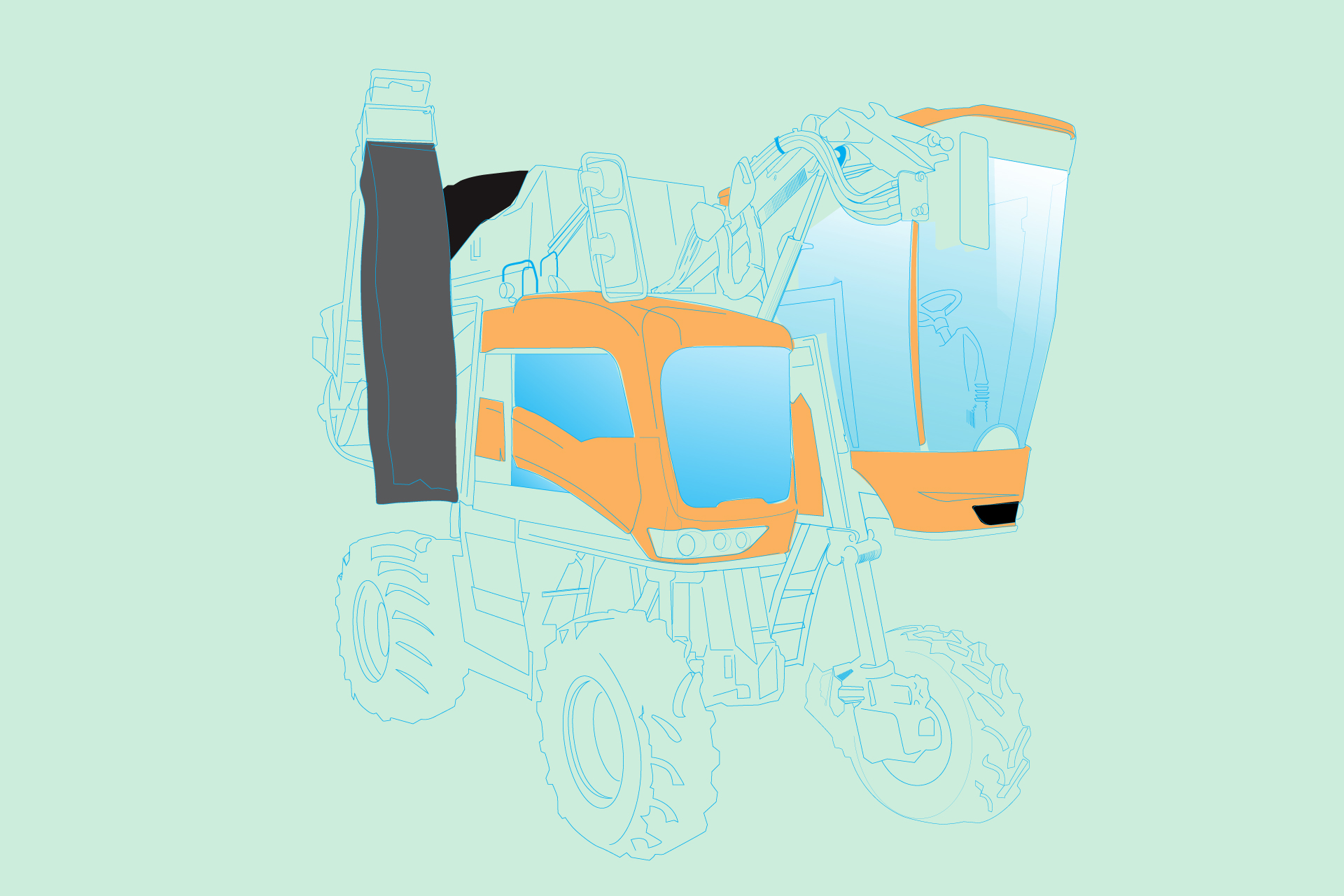 An illustration of a machine harvester