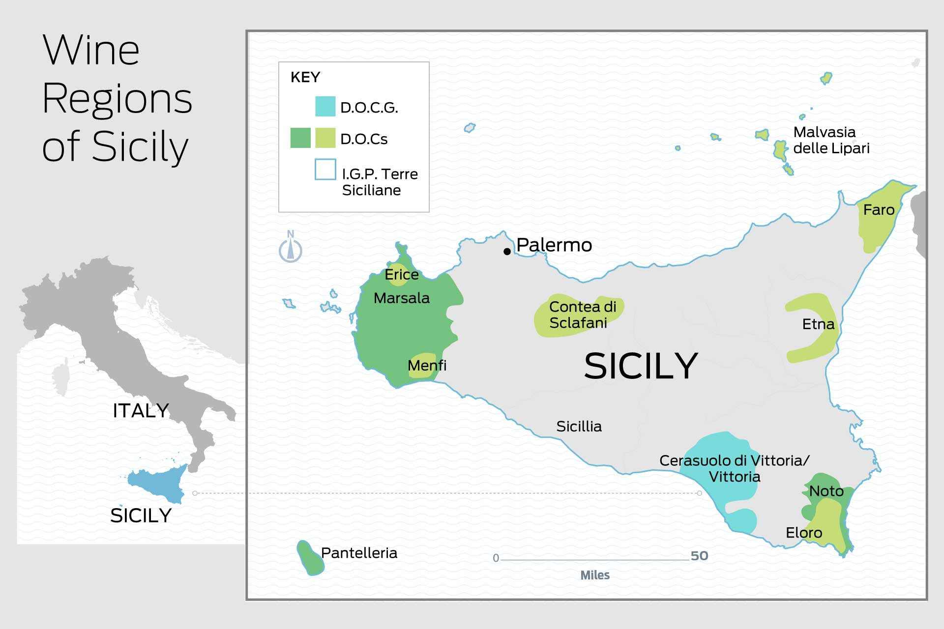 Map of the important wine regions of Sicily