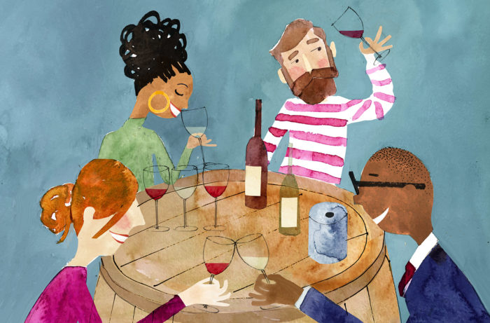 Illustration of a wine tasting party
