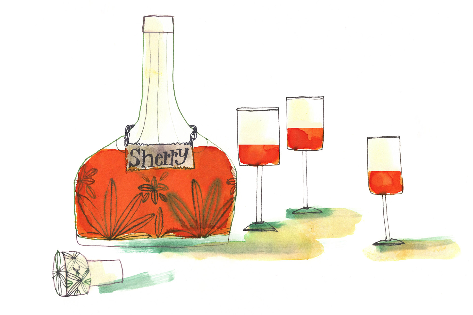 Illustration of a bottle of oxidized Sherry