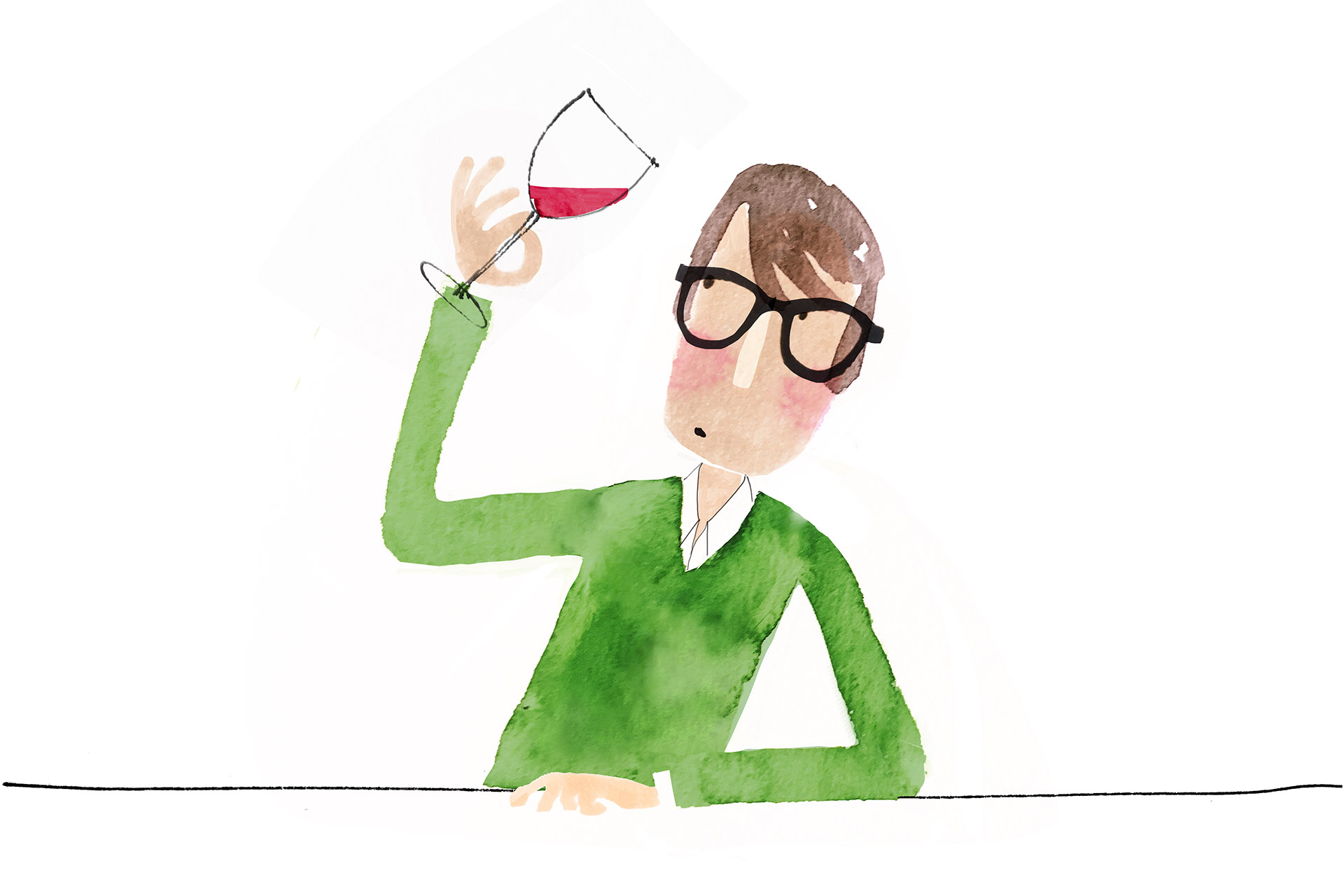 Illustration of man with glasses looking at wine
