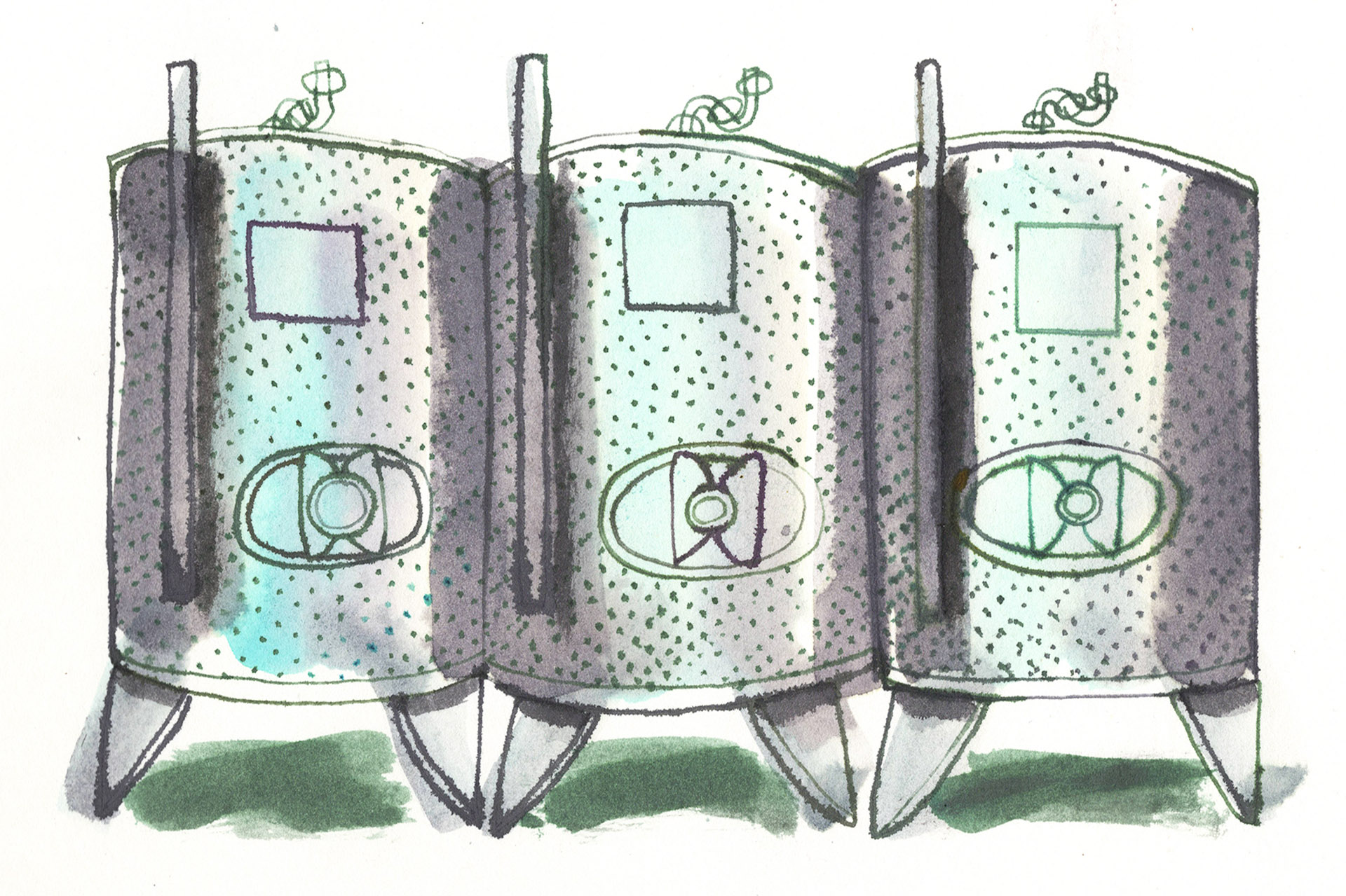 Steel tanks for reductive winemaking illustration