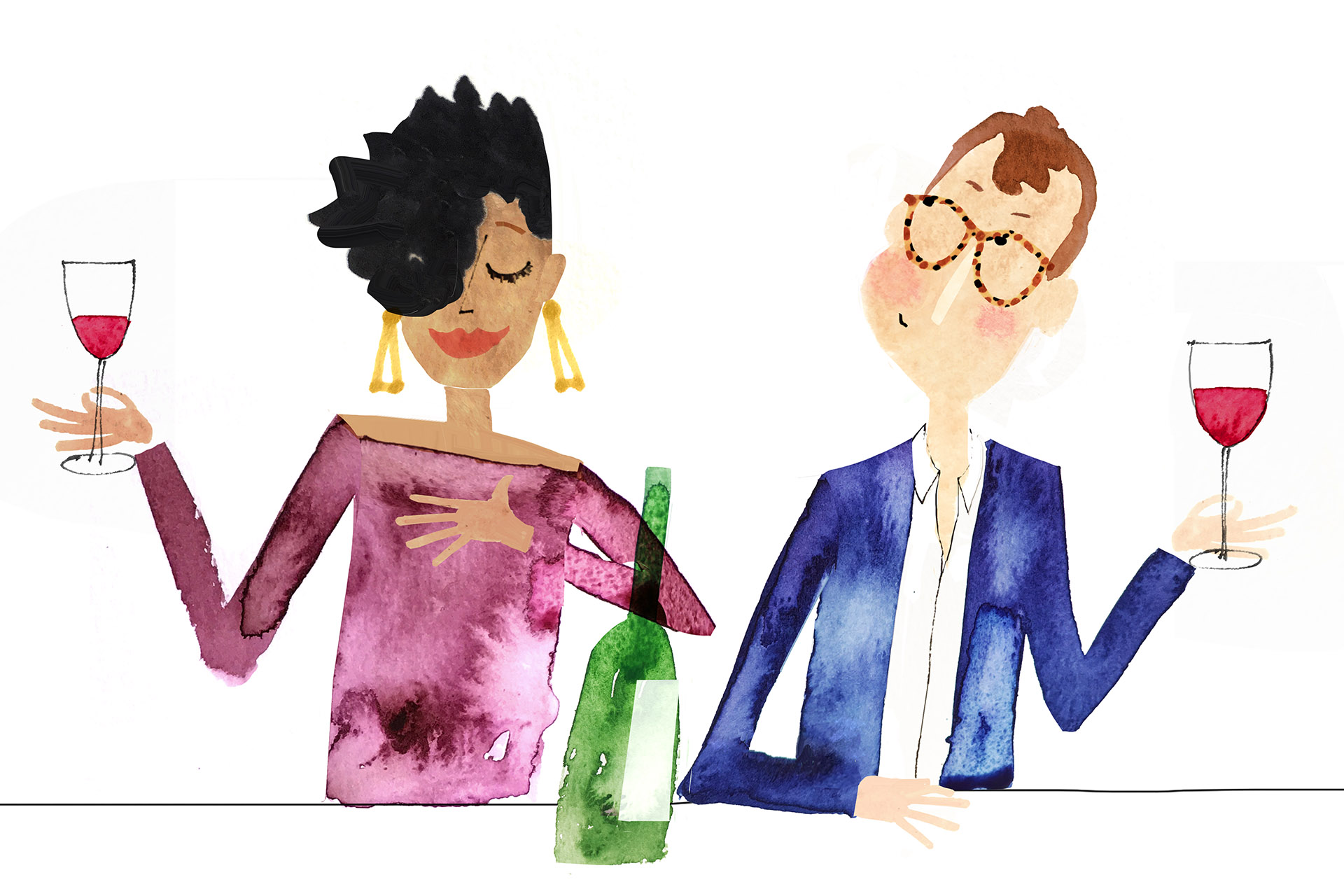 Illustration of couple savoring wine after sipping