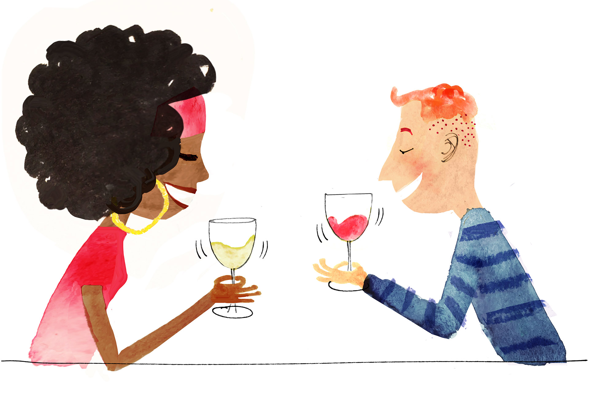 Illustration of a couple swirling red and white wine