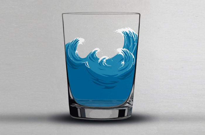 A illustrated wave in a glass
