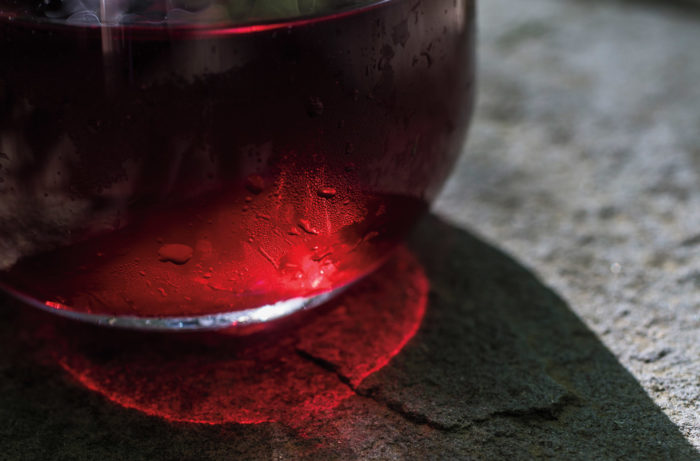 Red wine in the light