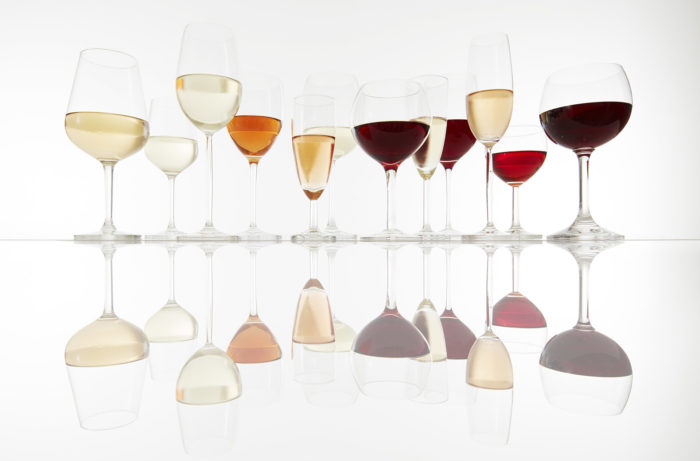 Various glasses with wine, prosecco and champagne