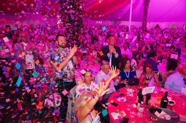Confetti falling during Auction Napa Valley celebration